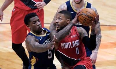 Lillard 43 pontos vitória Blazers Pelicans